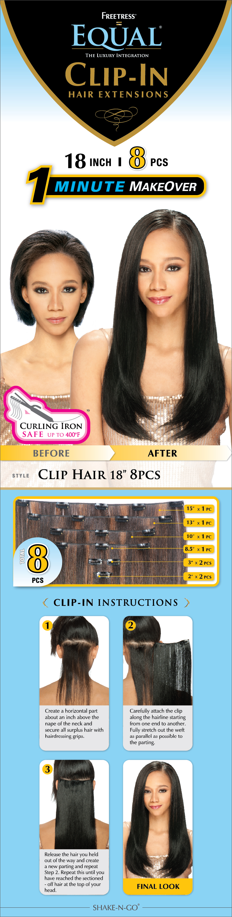 Freetress Equal Synthetic Clip Extension Straight Clip Hair 8pcs