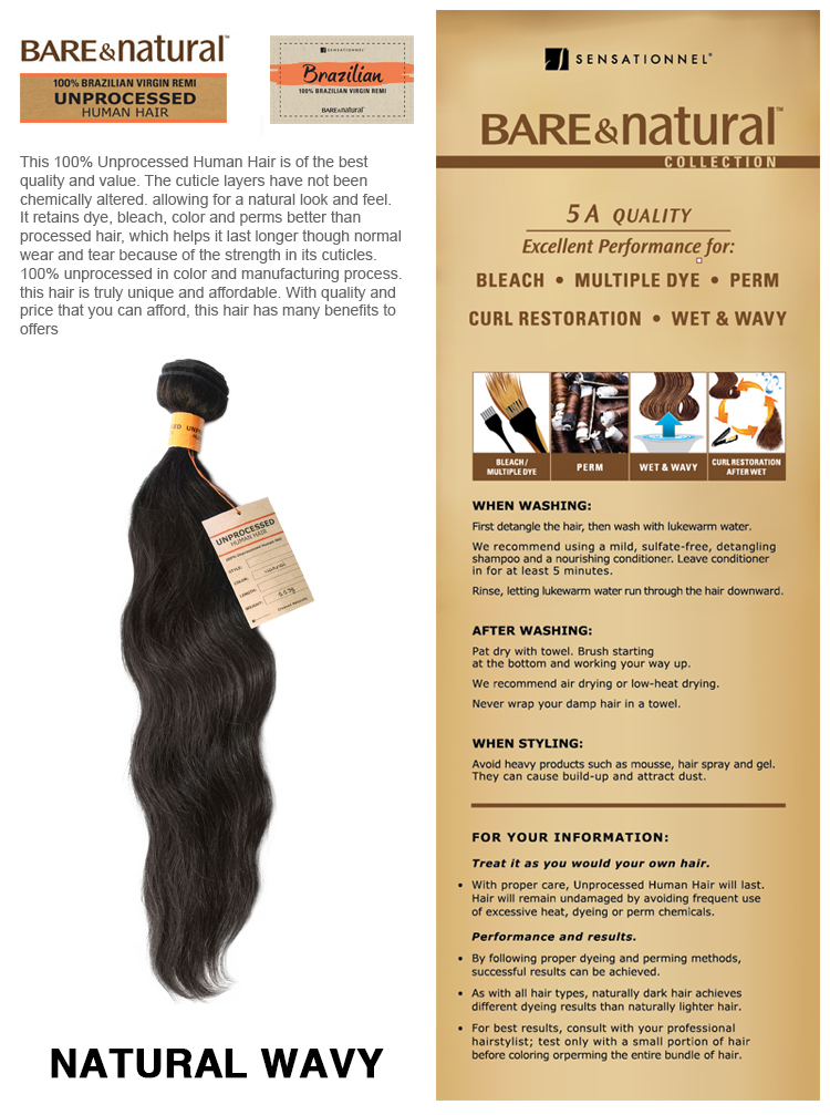 Sensationnel 100% Unprocessed Human Hair - Natural Wavy