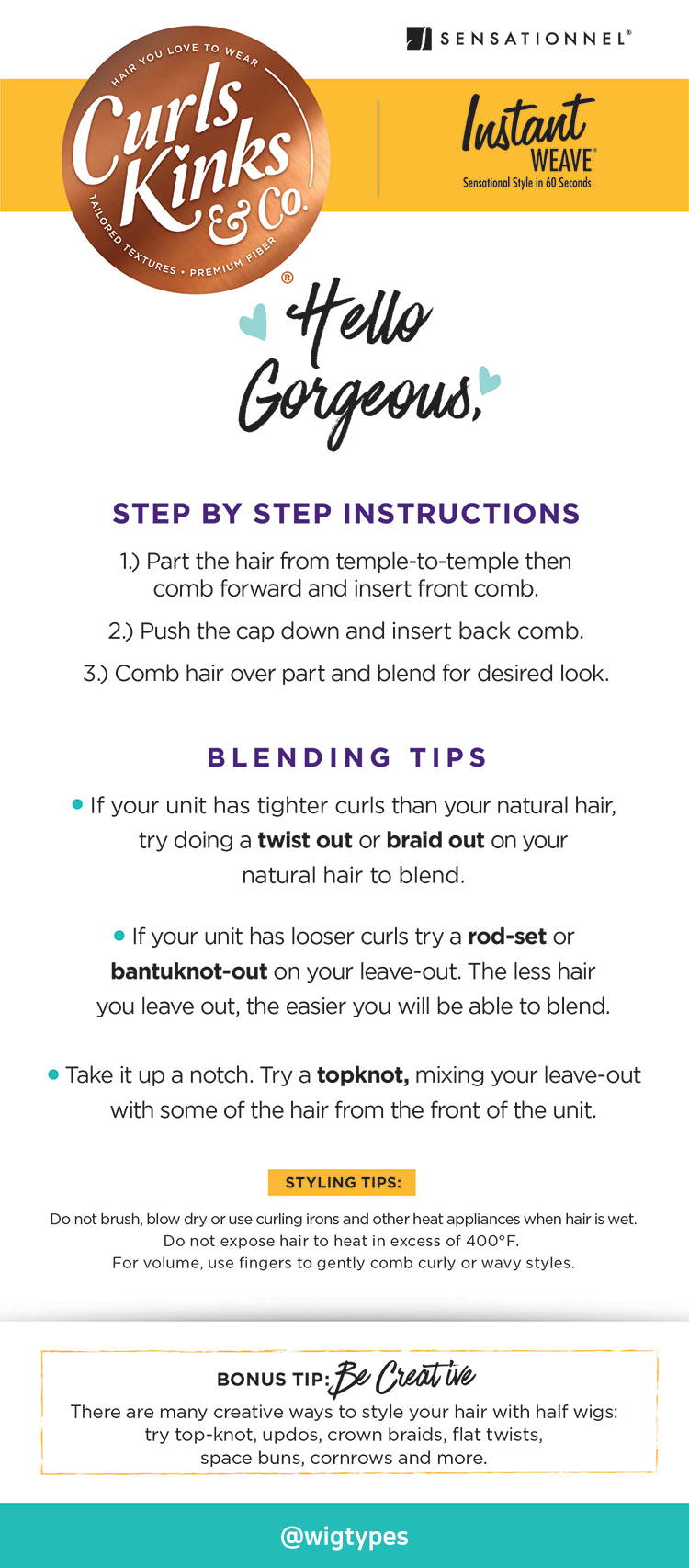 Sensationnel Curls Kinks and co Care guide