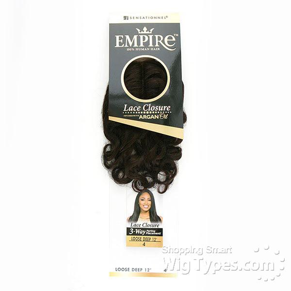 86ddb9dacfc Sensationnel 100% Human Hair Lace Closure - EMPIRE LOOSE DEEP 12 ...
