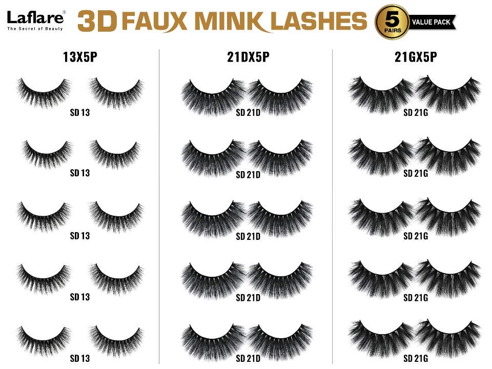 Laflare 3D Faux Mink EyeLashes -5 Pairs Value Pack
