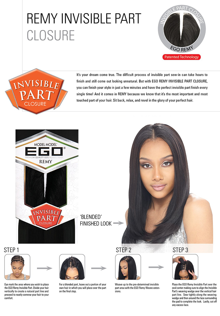 Model Model 100 Remy Human Hair Top Piece Ego Remy Invisible Part