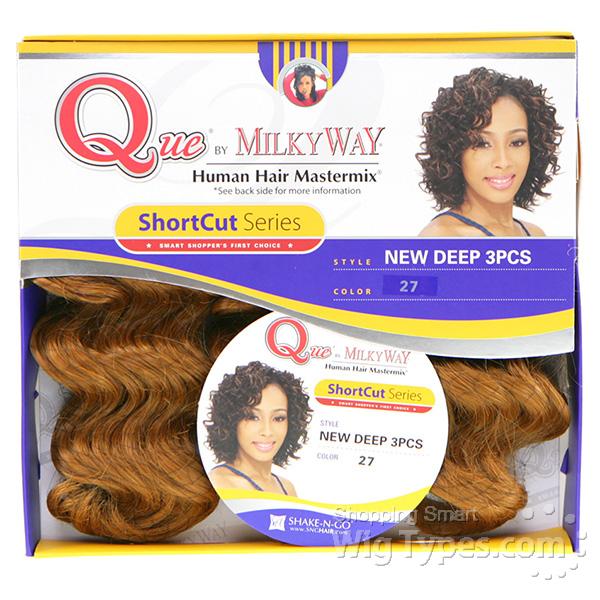 Milky Way Que Human Hair Blend Weave Short Cut Series New Deep