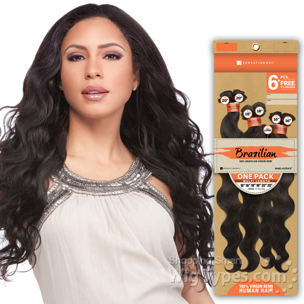 Sensationnel Unprocessed Brazilian Virgin Remy Human Hair Weave Bare & Natural Natural Yaki 22