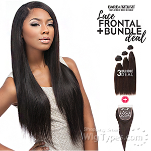 Sensationnel 100% Virgin Bare & Natural Lace Closure + Bundle Deal - STRAIGHT 12,14,16 (Full 4x4 Lace Closure With Bundles)