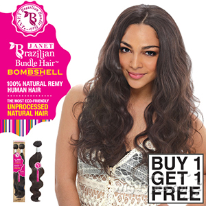 Janet Collection 100% Unprocessed Remy Human Hair Weave - Brazilian Bombshell Body Wave 14-16 (Buy 1 Get 1 FREE)