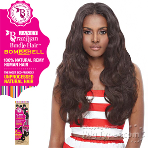 Janet Collection 100% Unprocessed Remy Human Hair Weave - BRAZILIAN BOMBSHELL NATURAL BODY WAVE 6PCS (12/12/14/14/16/16 + Closure)