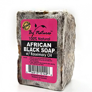 By Natures African Black Soap with Rosemary Oil 6oz