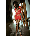 Killer Legs by Yelete Darling Multi Net Bodystocking Dress Red 818JT223