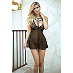 Killer Legs by Yelete Sultry Edge Choker Lace Chemise Black 819S010