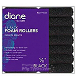 "Diane #1917B 14 - Pack Foam Rollers 5/8"" Black"