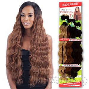 Model Model Dream Weaver Human Hair Blend Weaving - Pose Peruvian Long Soft Bundle Wave (22/22/24/24/26/26 + closure)