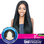 Isis Mega Brazilian Human Hair Blend UniWeave V Part Wig - STRAIGHT NATURAL YAKY 24