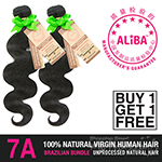Janet Collection 100% Unprocessed Natural Brazilian Virgin Human Hair - 7A ALIBA NATURAL BODY WAVE 14 (Buy 1 Get 1 FREE)