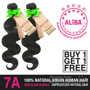 Janet Collection 100% Unprocessed Natural Brazilian Virgin Human Hair - 7A ALIBA NATURAL BODY WAVE (Buy 1 Get 1 FREE)