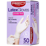 Red By Kiss 50GLPF03 Latex Gloves Powder Free - Large 50ct