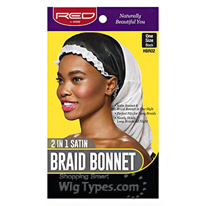 Red by Kiss 2 in 1 Satin Braid Bonnet One Size Black&Whte HBR02