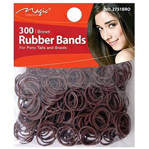 Magic Collection #2751BRO Rubber Band 300pc Brown