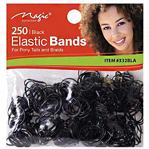 Magic Collection #332BLA 250pc Elastic Bands Black
