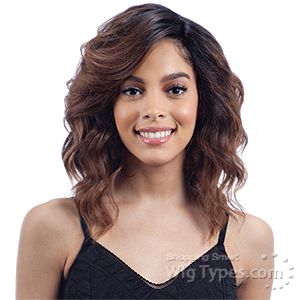 Model Model Synthetic Hair Lace Deep Invisible L Part Lace Front Wig - BUBBLE MEADOW