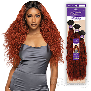 Outre Purple Pack Brazilian Bundle Human Hair  Blend Wet &Wavy Style Weaving - NATURAL WAVE (18/20/22)