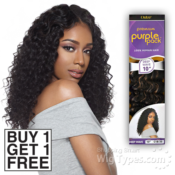 Outre 100 Human Hair Weave Purple Pack Deep Wave 10 Buy 1 Get 1