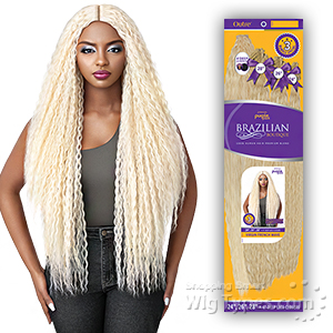 Outre Purple Pack Brazilian Boutique Human Hair Blend Weaving - VIRGIN FRENCH WAVE 4PCS (24/26/28 + 4 inch lace closure)