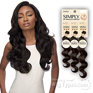 Outre Simply 100% Unprocessed Human Hair Weave - NATURAL BODY 3PCS