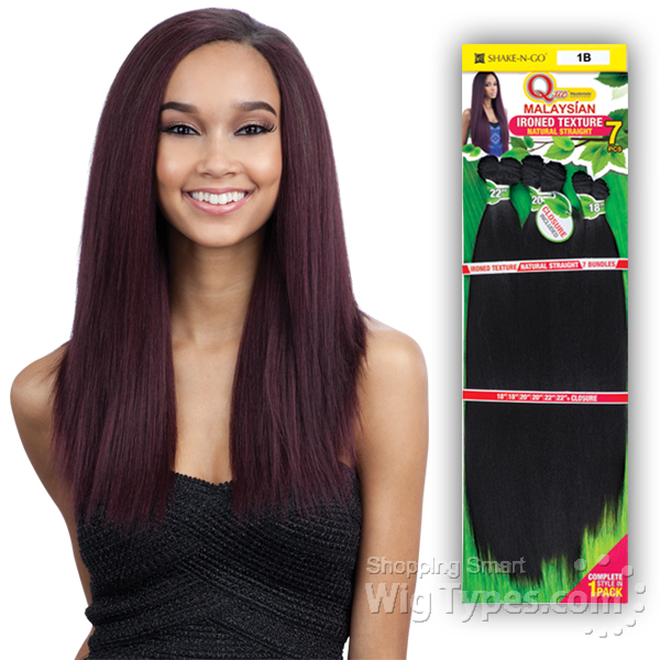 Milky Way Que Human Hair Blend Weave Malaysian Ironed Texture Straight 7pcs 12