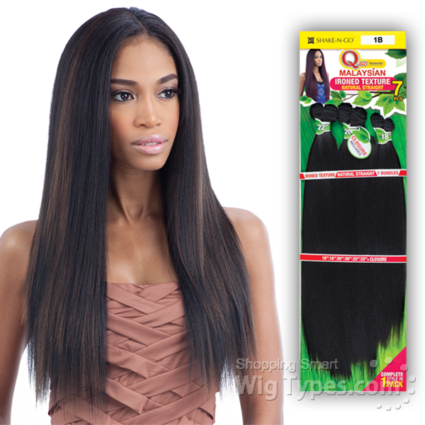 Milky Way Que Human Hair Blend Weave Malaysian Ironed Texture Straight 7pcs 14