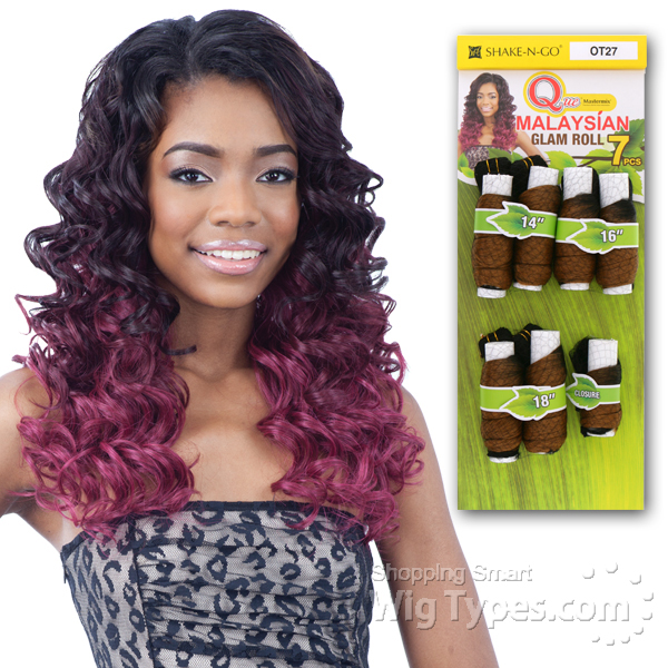 Milky Way Que Human Hair Blend Weave Malaysian Glam Roll 7 14 16 18 Closure Wigtypes