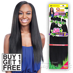 Milky Way Que Human Hair Blend Weave - MALAYSIAN SILK PRESS YAKY 7PCS 14,16,18 (Buy 1 Get 1 FREE)