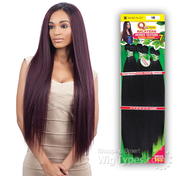 Milky Way Que Human Hair Blend Weave Malaysian Ironed Texture Straight 7pcs 22