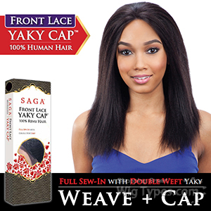 Saga Remy 100% Remy Human Hair Lace Front Wig - YAKY CAP LACE 20 (Full Sew-In, Double Weft Yaky on a Cap)