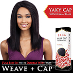 Saga Remy 100% Remy Human Hair Wig - YAKY CAP 18 (Full Sew-In, Double Weft Yaky on a Cap)