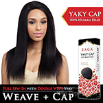 Saga Remy 100% Remy Human Hair Wig - YAKY CAP 22 (Full Sew-In, Double Weft Yaky on a Cap)