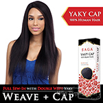 Saga Remy 100% Remy Human Hair Wig - YAKY CAP 24 (Full Sew-In, Double Weft Yaky on a Cap)