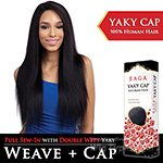 Saga Remy 100% Remy Human Hair Wig - YAKY CAP 26 (Full Sew-In, Double Weft Yaky on a Cap)