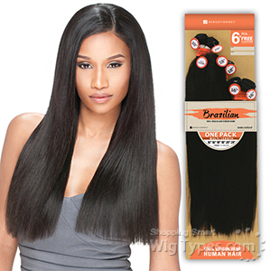 Sensationnel 100% Brazilian Virgin Remi Bundle Hair Bare & Natural - NATURAL YAKI 1PK (10/10/12/12/14/14 + Closure)