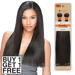Sensationnel 100% Unprocessed Brazilian Virgin Remy Human Hair - NATURAL YAKI STRAIGHT 12 (Buy 1 Get 1 FREE)