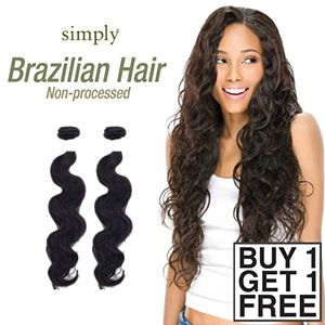 Outre Simply 100% Non-processed Brazilian Virgin Remy Human Hair Weave - BODY WAVE 12 (Buy 1 Get 1 FREE)