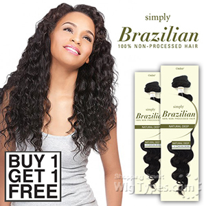 Outre Simply 100% Non-processed Brazilian Virgin Remy Human Hair Weave - NATURAL DEEP 10 (Buy 1 Get 1 FREE)