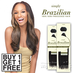 Outre Simply 100% Non-processed Brazilian Virgin Remy Human Hair Weave - NATURAL STRAIGHT 16 (Buy 1 Get 1 FREE)