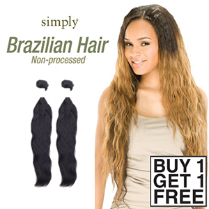 Outre Simply 100% Non-processed Brazilian Virgin Remy Human Hair Weave (Buy 1 Get 1 FREE)