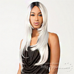 The Wig Brazilian Human Hair Blend Lace Front Wig - LH BORA (SILVER COLOR)