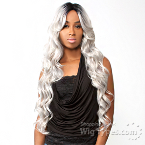 The Wig Brazilian Human Hair Blend Lace Front Wig - LH OCEAN (SILVER COLOR)