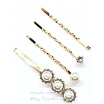 WIGO Collection Hair Accessories Bobby Pins - (PIN7 - Gold Rhinestone & Pearl Mixed Bobby Pin 4pcs Set)