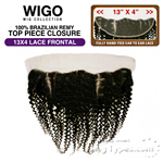 WIGO Collection 100% Brazilian Remy 13x4 3-Way Parting Swiss Lace Frontal – CURLY 14