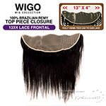 WIGO Collection 100% Brazilian Remy 13x4 3-Way Parting Swiss Lace Frontal – STRAIGHT 14