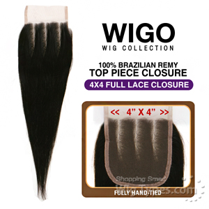 WIGO Collection 100% Brazilian Remy 4x4 3-Way Parting Swiss Full Lace Closure – STRAIGHT 14